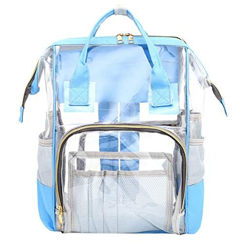 XZDCDJ Rucksäcke Für die Schule Damen Mumienbeutel Windelflaschenbeutel Transparenter Babybeutel Reiserucksack Pflegetasche Blau