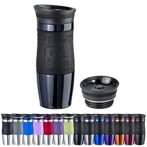 WELLGRO Thermobecher 400 ml + 1 Extradeckel - Edelstahl rostfrei - Silikon Soft-Touch Griffstück - BPA-frei - Isolierbecher doppelwandig - Travel Mug - Kaffeebecher to go, Farbe:Schwarz Metallic