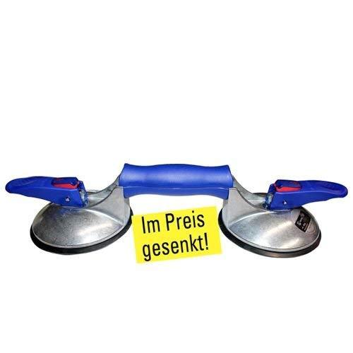 2-Kopf Saugheber für strukturierte und raue Fliesen mit Vakuumanzeige und Doppeldichtlippe, 11799 -