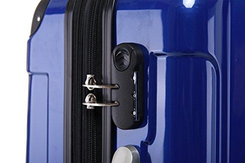 BEIBYE Hartschalen Koffer Trolley Rollkoffer Reisekoffer 4 Zwillingsrollen Polycabonat (Blau, 76cm -110L) - 4
