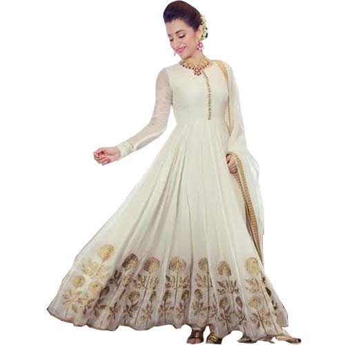 BMR New Designer White Anarkali Suit