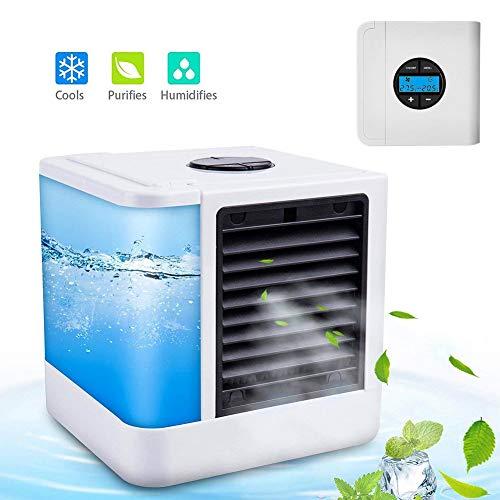 GJXY Mobile Klimaanlage Kaltluftkühler Luftbefeuchter Lüfter mit USB-Anschluss Netzstecker, tragbarer Luftkühler mit LED-Anzeige,Rainbow