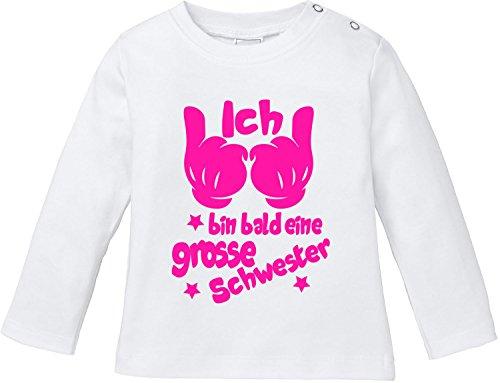 EZYshirt® Ich bin bald eine grosse Schwester Baby T-Shirt Longsleeve (Weißes T-shirt 2005)