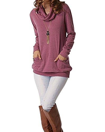 SOLERSUN Tunika Blusen Frauen Plus Größe, Damen Langarm Cowl Neck Lässige Flared Tunika Blusen für Frauen Mode 2019 Lila Rot M -