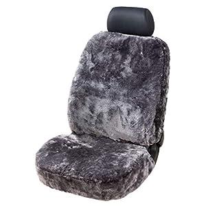 Walser 20010 Zipp IT Lammfell Autositzbezug Monette anthrazit, Autoschonbezug, Schonbezug, Sitzbezug mit Reißverschluss System, Lammfellbezug