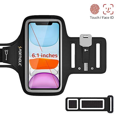 PORTHOLIC Schweißfest Sport Armband für iPhone 11 Pro XS X 8 7 6, Verlängerungsband, Schlüsselhalter, Kartensteckplatz, Kopfhörerloch, für Handy Bis zu 6,1