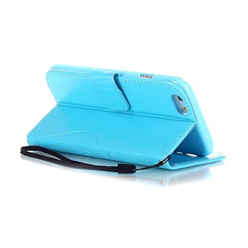 iPhone Case Cover Étui pour iPhone 6 6S PLUS Folio Flip, Étui pour portefeuille avec trésorerie et fente pour carte Couverture en silicone Premium pour iPhone 4 6S PLUS 5.5 inch ( Color : Pink , Size  Blue