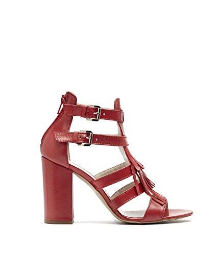Poi lei sandales femme avec tige à franges en cuir rOUGE gAMME alicia Rouge