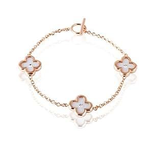 FAIRY COUPLE Bracelet Femme Plaqué or Rose Blanc Cristal de Fleurs Cubique de Zircon B11