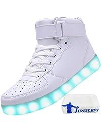 (Present:kleines Handtuch)Weiß EU 40, Couple Luminous 7 Casual Top Men mode Unisex Sport JUNGLEST® Charging High USB Flash Sneakers LED-Licht Shoe