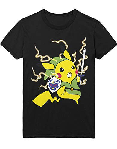 T-Shirt Poke Go Pika Link Mashup Zelda Hyrule Mastersword Triforce C123133 Schwarz XL