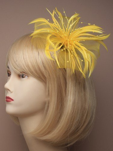 4412 Bright Large looped net & feather fascinator on forked clip & brooch pin Pink Yellow Orange Purple Cream Turquoise (Yellow) by Inca (Yellow Flower Hair Pin)