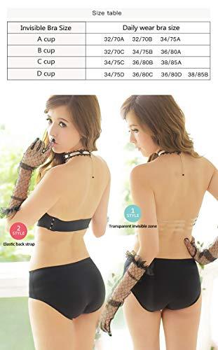 UKKD BHS für Frauen, kabellos, modische Größe, weich, schwarz, nahtlos, trägerlos, unsichtbar, Bralette-BH, Push Up Gr. B, hautfarben - 2