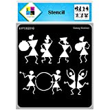 SWAGSTATION Warli Art Stencils for Craft - Dancing Warli Stencil - 6x6 Inches - Reusable DIY Stencils for Painting on Canvas
