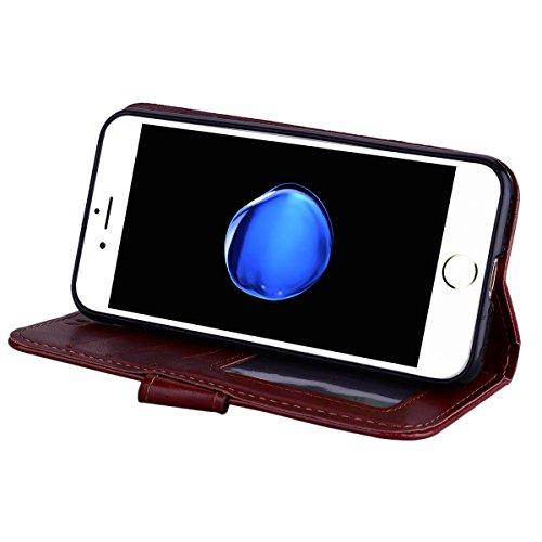 Custodia iPhone 7,Custodia iPhone 8,ToDo Slim PU Pelle Cover per iPhone 7 / 8 Unicorno Bling Glitter Disegno Portafoglio Libro Flip Copertina Protective Case Chiusura Magnetica Supporto Stand Carta di Marrone
