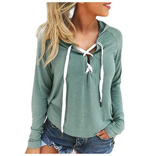 CuteRose Womens Sweatshirt Long-Sleeve Pullover Hooded Loose Lace Up Tshirt 1 XS -