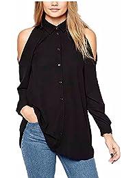 Camisa Sin Tirantes Mujer Camisetas de Manga Larga Otoño Off Shoulder Blusa de Gasa Elegante Casual Oficina T Shirt de Cuello Tunicas Lisas Colores - Landove