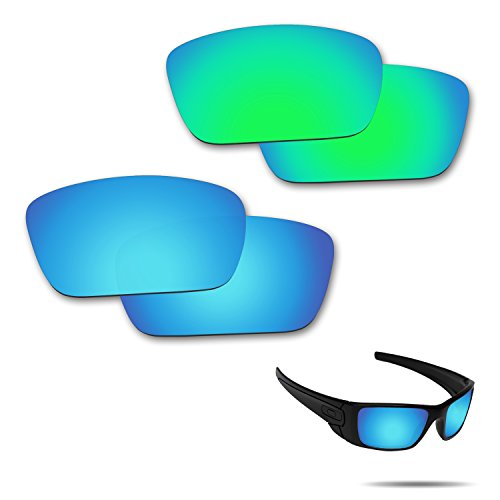 Fiskr Anti-Saltwater Polarisierte Ersatz Gläser für Oakley Fuel Cell Sonnenbrille, 2Paar Verpackt, Ice Blue & Emerald Green