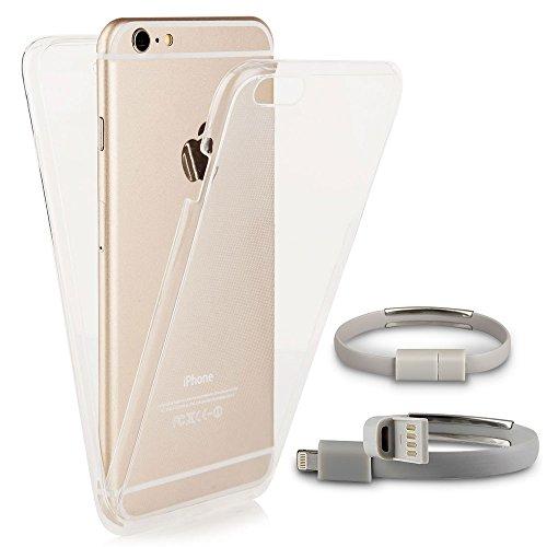 EGO® Double Touch Case komplette TPU Silikon Hülle für iPhone 7, Motiv 3 Katze 360 ° Grad vorne hinten Beidseitiger Schutz Full Handy Tasche transparent Front Back doppelseitig durchsichtig + Kabel