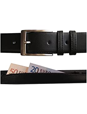 Hecho en España - Cinturón de piel con cremallera interior para dinero - Cinturón antirrobo