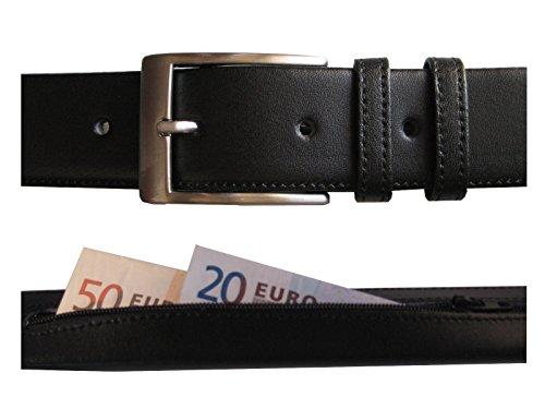 Cintura da uomo in pelle nera con tasca interna a zip segreta - Fatto a mano da artigiani in Spagna - Perfetta per viaggi - Large (W38-W42) / Lunghezza Utile 100-110cm