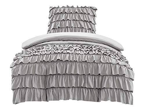 SCM Bettwäsche 135x200cm Grau Rüschen Uni Einfarbig Romantisch & Weich 2-teilig Bettbezu