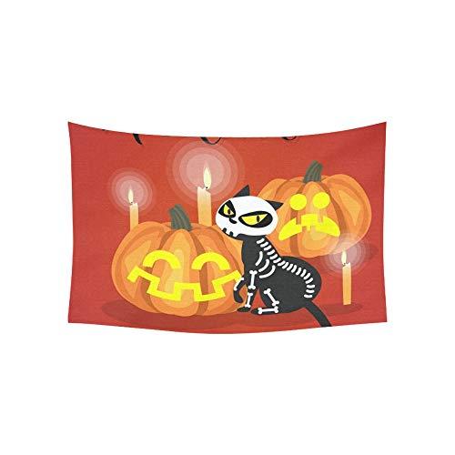 JOCHUAN Tapisserie Halloween Kätzchen Skelett Kostüm Halloween Tapisserien Wandbehang Blume Psychedelic Tapisserie Wandbehang Indian Dorm Decor Für Wohnzimmer Schlafzimmer 60 X 40 Zoll