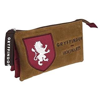 Artesania Cerda Harry Potter Gryffindor, Estuche/Portatodo Plano 3 Compartimentos, 22 cm, Rojo