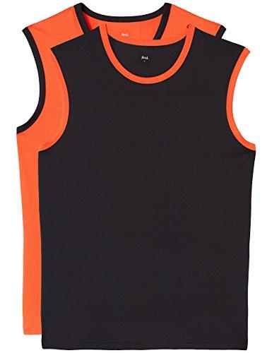 FIND Camiseta sin Mangas Combinada para Hombre, Pack de 2, Multicolor (Tomato...