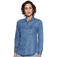 Styleville.in Women's Plain Regular fit Shirt (STSF402078-Blue-M_Blue_M)