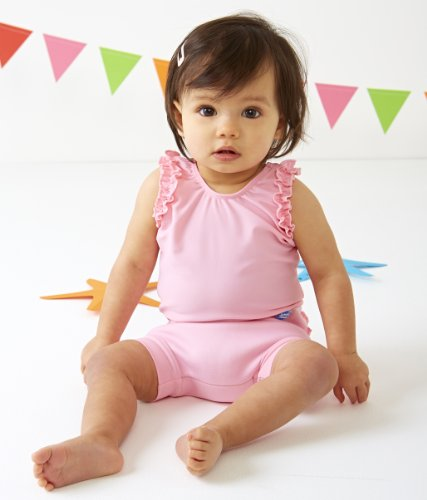 Splash About Kids' Happy Nappy Swimming Costume – Pink Frill, Small