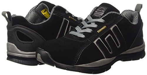 MENS GR86 LIGHTWEIGHT LEATHER UPPERS, STEEL TOE CAP LACE UP SAFETY TRAINER, BLACK, SIZE 13 UK