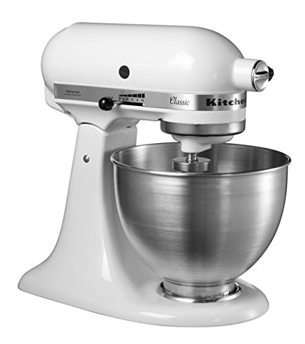Kitchenaid 5KSM45E 5K45SSEWH B002S0NS8G, Metall, 4.3 liters, Silberfarben/Weiß