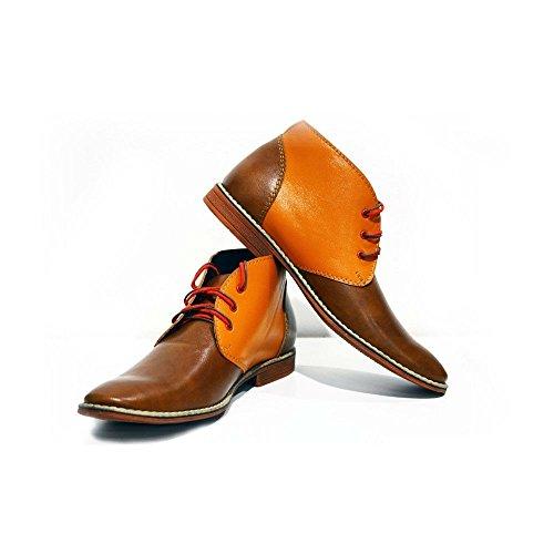 PeppeShoes Modello Moderno - 39 - Handgemachtes Italienisch Bunte Herrenschuhe Lederschuhe Herren Orange Stiefeletten Chukka Stiefel - Rindsleder Weiches Leder - Schnüren -