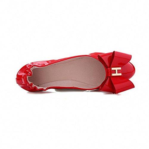 AllhqFashion Femme Tire Rond à Talon Bas Pu Cuir Couleur Unie Chaussures Légeres Rouge