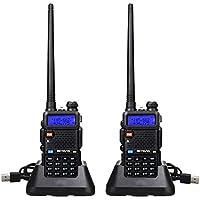 Retevis RT5R Walkie Talkie Professional, Banda Dual Largo Alcance 2 Vías Radio con Cargador de USB, 128 Canales Radio VOX FM Transceptor Portátil de Mano para Almacén, Caza (Negro, 2 Piezas)