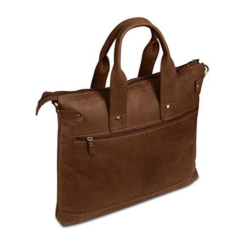 STILORD Pochette en cuir Sac College Travail Poche sac à main Laptop cuir véritable marron