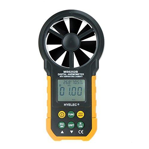 EKugo (TM)-Custodia multifunzione a prova di vento, velocità, tachimetro-Anemometro digitale/Volume di aria, termometro/igrometro MS6252B HYELEC