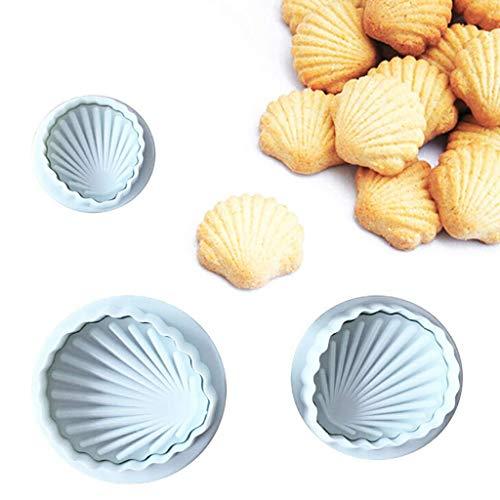 Vektenxi Premium Qualität 3 Stücke Shell Form Cookies Fondant Kunststoff Formen Cutter Kuchen Embosser Mould