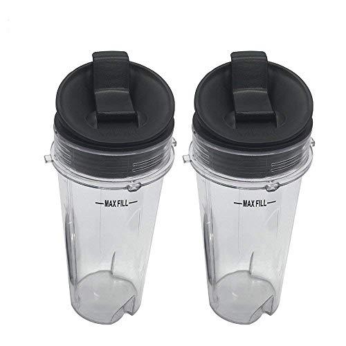 Zwei Pack 473ml (16Oz) Tasse mit SIP & Seal Deckel für Nutri Ninja Mixer eries mit BL660/bl663/bl663co/bl665q/bl771/bl773co/bl810/BL820/BL830/qb3000/qb3000ssw/qb3004/qb300