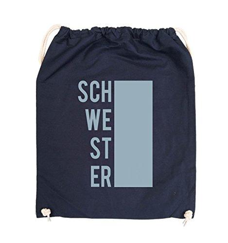Comedy Bags - SCHWESTER - BLOCK - Turnbeutel - 37x46cm - Farbe: Schwarz / Pink Navy / Eisblau