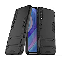 FanTing Case for Huawei Y8p, Rugged and shockproof,with mobile phone holder, Cover for Huawei Y8p-Black