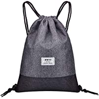 Bwiv Gym Sack Drawstring Bag with Inside Zipper Pocket Sports Travel Bag Water Repellency Light Backpack for Men Women 13x16.5 Inches