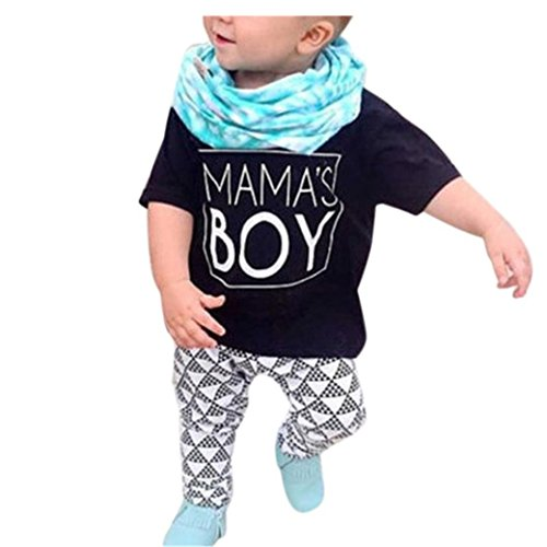 Bekleidung Longra Neugeborenen Baby Jungen Sommer Kleidung Letter Kurzarm t-shirt Tops + Geometric Hosen Outfits Kleidung Set(0-24Monate) (70CM 6Monate, Black)
