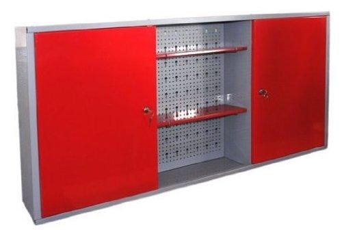Preisvergleich Produktbild Werkstattschrank aus Metall mit verschließbaren Türen, zwei höhenverstellbaren Einlegeböden, einer Lochwand sowie kratzfester Oberfläche, Maße B 120 x H 60 x T 19 cm