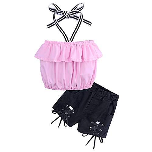 JUTOO 2 Stücke Set Kleinkind Kind Baby Mädchen Rüschen Schulterfrei Tops + Shorts Hosen Outfits Set Kleidung (Rosa,2)