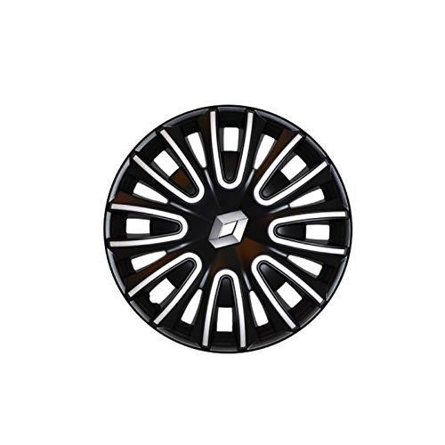 _Renault Coppa Ruota Nero Lucido da 15 Pollici con Bordo Color Argento