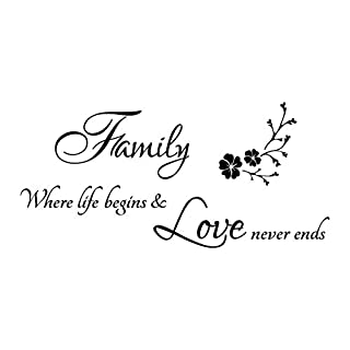 Family Where Life Begins Love Never Ends Quotes Wall Stickers,Hshi Art Wall Decals PVC Wall Murals DIY Wall Decoration