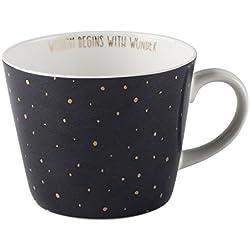 Creative Tops Star geométrico taza en forma cónica, diseño de lunares, color azul