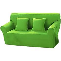 Baoblaze Einfarbige Sofahusse Sofabezug Sofabezüge Universal Stretchhussen für 2er Sofahusse - Gras-Grün